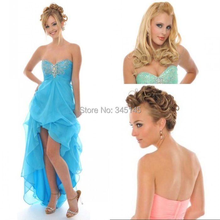 Exquisite Front Short Long Back A Line Sweetheart High Low   Prom     Dresses   Beaded Sexy Design Homecoming Cheap Party