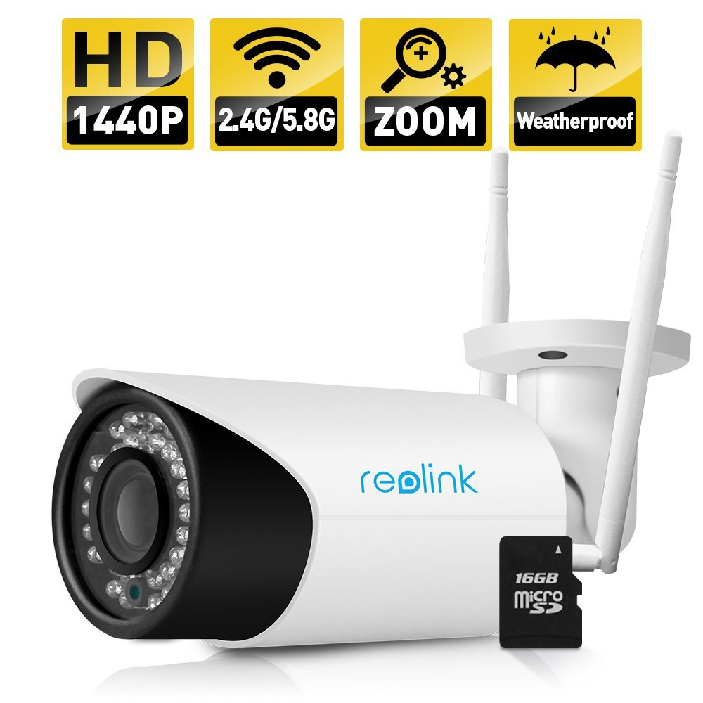 Reolink RLC-411WS 4MP 1440P Security IP Camera 4X Optical Zoom WIFI Built-in 16GB SD Card Outdoor Waterproof Bullet IP Camera bullet camera tube camera headset holder with varied size in diameter