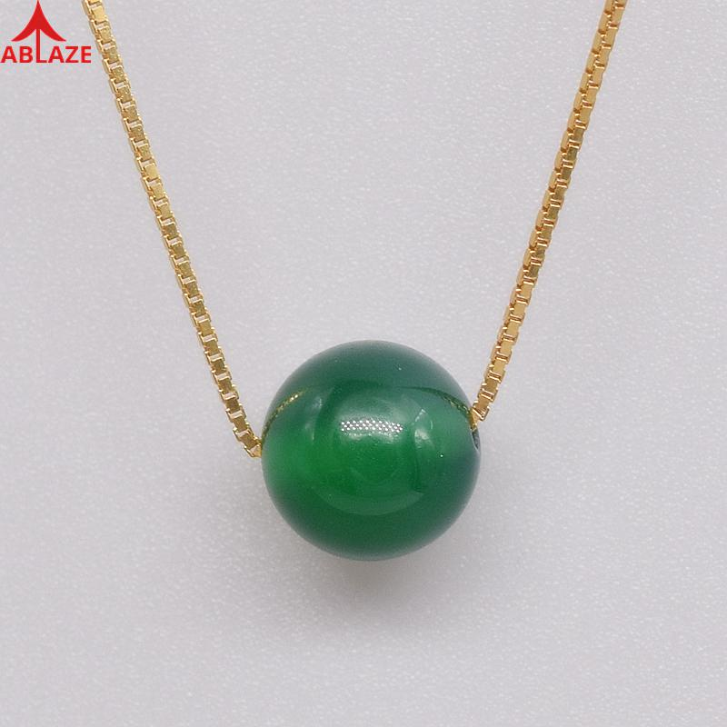 Virgo Stones Natural Green Chalcedony Chokers Necklaces Chrysoprase Gold 925 Silver Adjustable Chain Fine Jewelry Women #c039n Ювелирное изделие