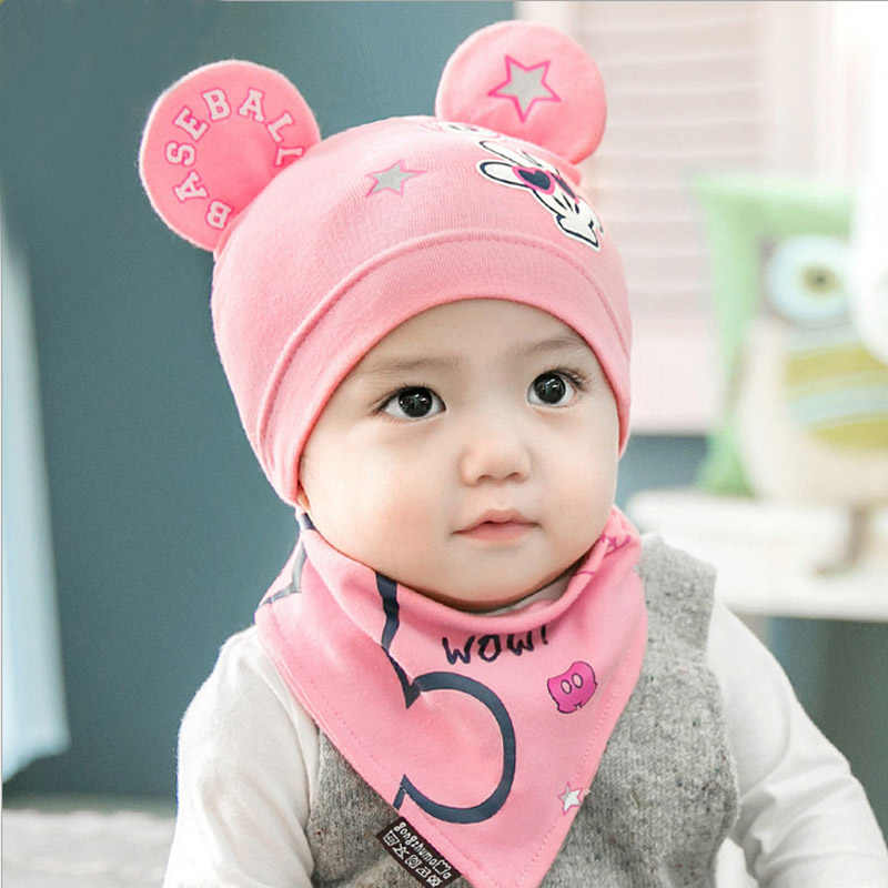 2pcs lot 100% cotton baby hat scarf set retail and wholesale boys girls kids fb393f8dd320