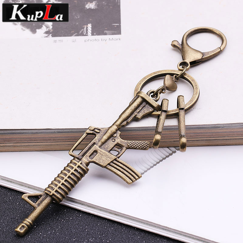Vintage Bronze Metal Gun Keychains for Men Fashion Jewelry Keychains Classic Design Personality Car Key Chains 2018 Gift