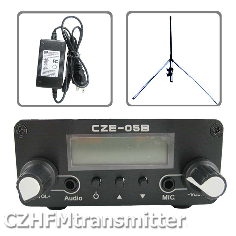 0.5w 500mw CZH-05B CZE-05B FM transmitter kit silver +1/4 wave GP antenna+power supply free shipping czh 15a 15w fm radio broadcast pll transmitter fm transmitter silver color