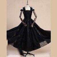 Summer women Lace Stitching Vintage Gothic dress Off Shoulder evening gown Female cotton long Bandage dresses