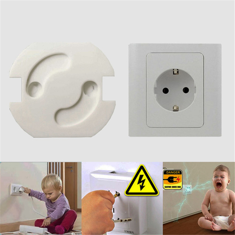 10pcs Baby Safety Rotate Cover 2 Holes EU Standard Children Electric Protection Socket Plastic Security Locks Child Proof Socket