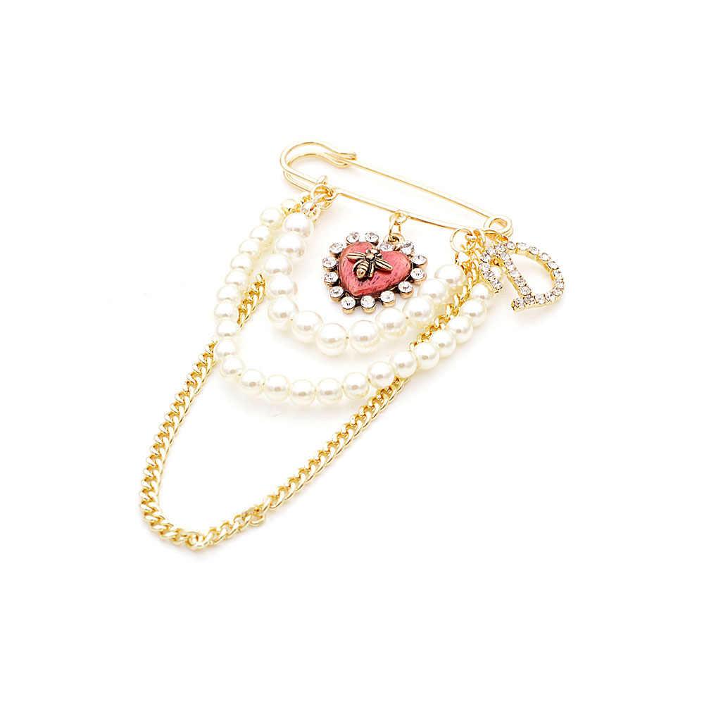 Cindy Xiang 4 Warna Tersedia Enamel Spider Pin Bros untuk Wanita Fashion Panjang Mutiara Rumbai Perhiasan Huruf Pin Baru 2019 hadiah