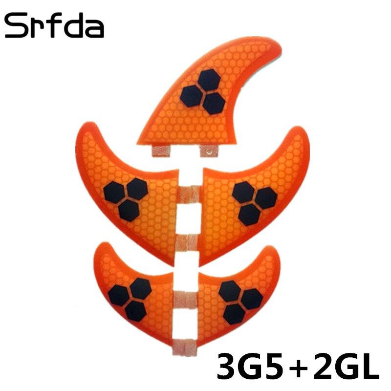 Srfda boîte en fiber de verre en nid d'abeille surfboard fin pour FCS surf ailettes taille G5 M + GL 5 pcs/ensemble Bleu Vert Orange top qualité 5 fin