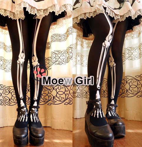 ead03b18005 Lolita Girl Harajuku Tights Skeleton Skull Printing Punk Gothic Pantyhose  Cute Princess 80D Velvet Color Black