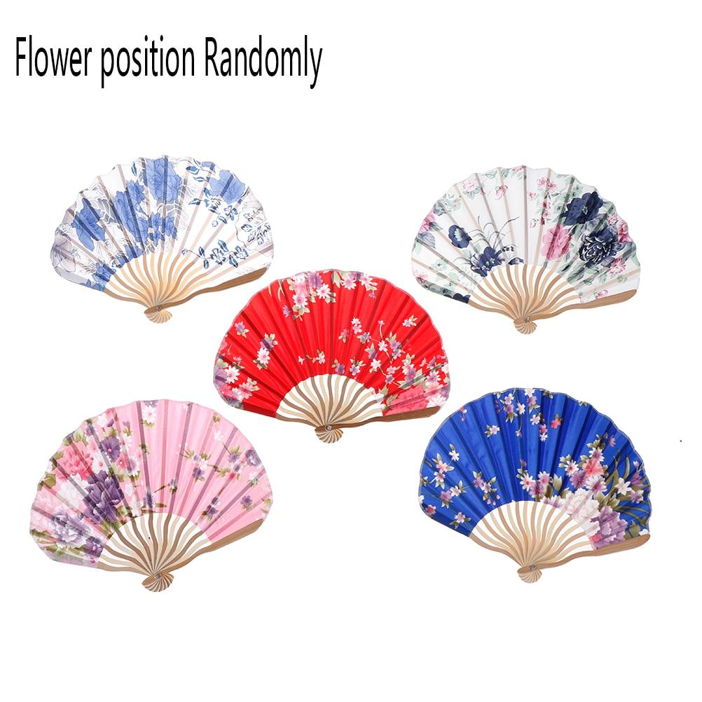 Fabric Floral Pocket Fan Folding Hand Held FanWedding Party favor ...