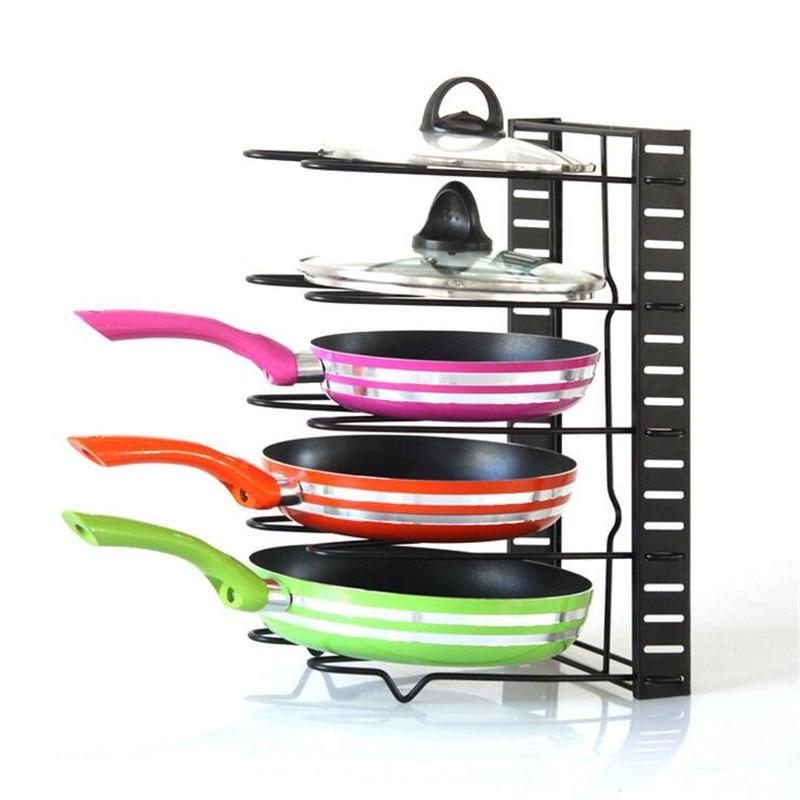 5 layers Stainless Steel Pan Organizer Holder Cutting Board Pan Pot Adjustable Shelf Accessories Kitchen Cookware Storage Rack|Racks & Holders| |  -