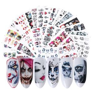 Image 5 - 24 stücke Kühlen Halloween Sliders Nail art Aufkleber DIY Wasser Temporäre Tattoos Clown Schädel Designs für Maniküre Decals CHSTZ731 755