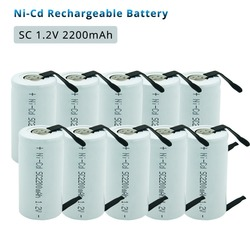 SubC 2200mah SC 1.2V Rechargeable Battery  Ni-cd Batteria with Welding Pins for Power Tools Electronic Toys