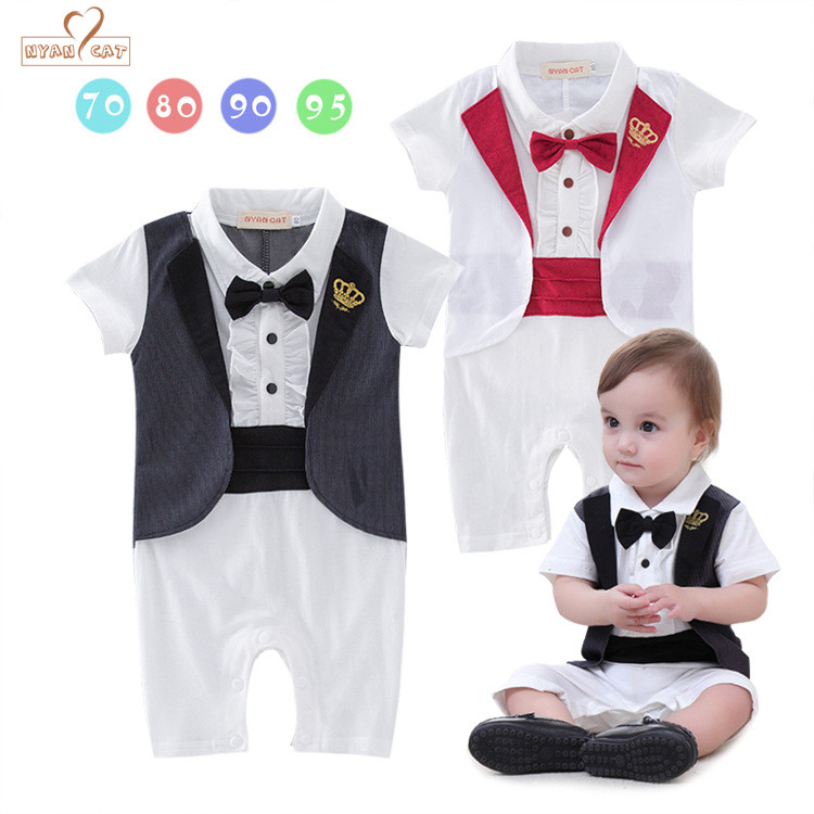 NYAN CAT Gentleman baby 2 colors crown tuxedo rompers infant toddler summer cotton jumpsuit party wedding birthday clothes 2017 summer baby rompers tuxedo shortall jumpsuit bebe clothing two piece set vest bowtie baby braces rompers kid clothes