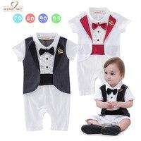 Gentleman Baby 2 Colors Crown Tuxedo Rompers Infant Toddler Short Sleeve Summer Cotton Jumpsuit Party Wedding