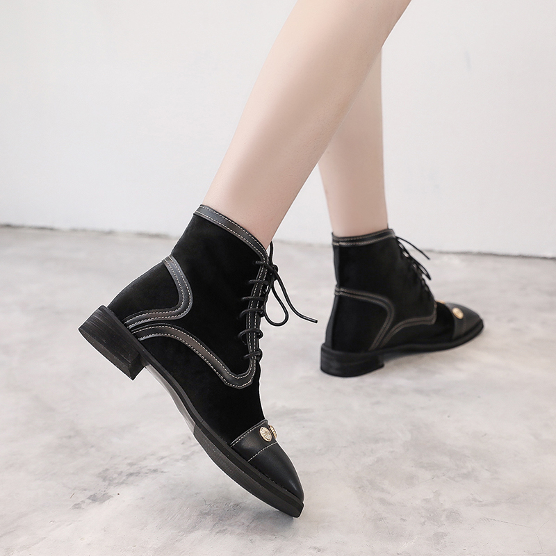 2018 autumn and winter new Martin boots female British wind retro hit color rivets wild lace with thick short boots 2