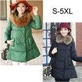 Cuello de Piel más el tamaño S-5XL ropa para Mujeres embarazadas de Maternidad Del Invierno abajo chaqueta larga de corea moda abrigos abrigos