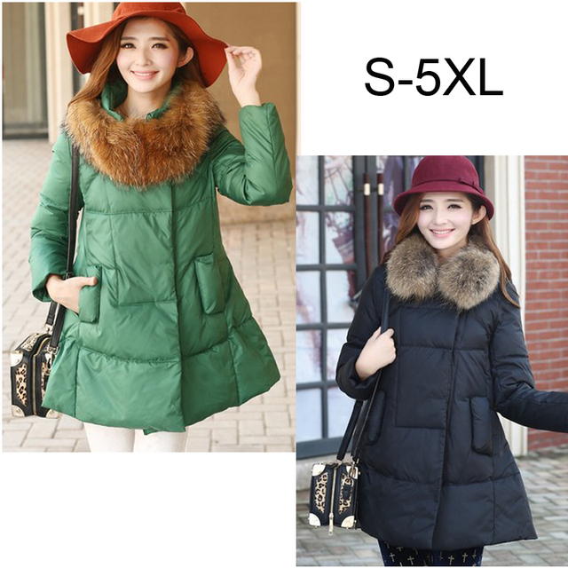 Plus size S-5XL Fur Collar clothes for pregnant Women Maternity Winter Down coat long jacket korean fashion coats outerwear