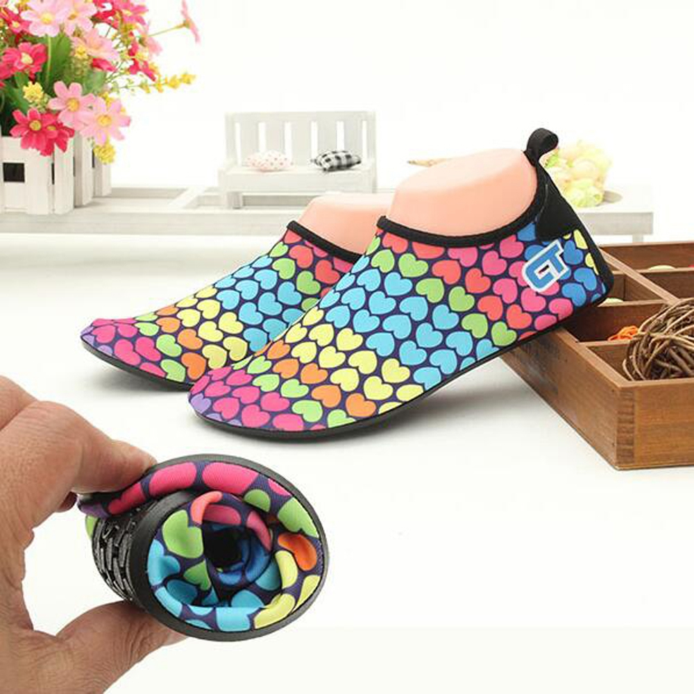 Men Women Colorful Diving Swimming Shoes Soft Non-slip Beach Shoes Diving Socks Swimming Fins Flippers Wetsuit Shoes