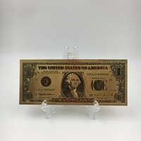 Billetes de oro de 1 dólar americano con soporte, dinero falso, billetes de Estados Unidos, para obras de arte de colección, envío gratis
