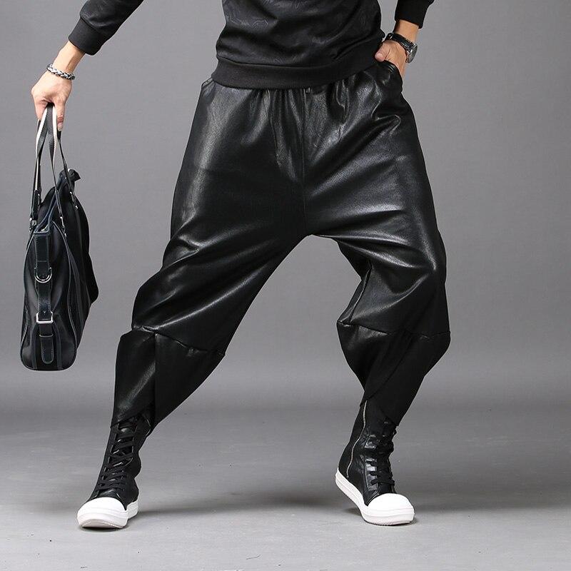 Hommes automne et hiver pantalons en cuir mince lâche harem pantalons de nuit scène hommes arcs pantalons marée mode personnalité pantalon