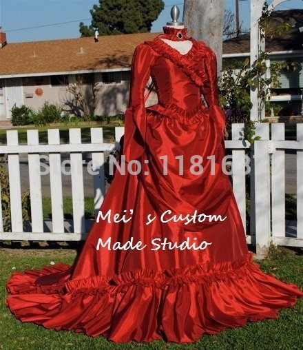 Custom Made RED Century Mina Victorian Bustle Gown Moive Theater Period Dress