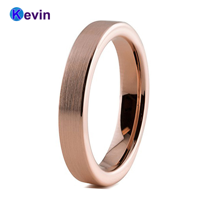 лучшая цена Womens Wedding Rings Jewelry Rose Gold Ring Tungsten Carbide Ring 4MM Flat Band Comfort Fit