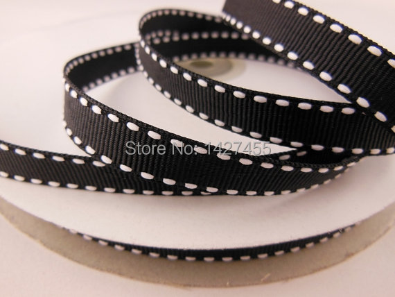 wholesale <font><b>50</b></font> Yards 3/8 9-10mm of single-sided black/white Saddle Stitch Grosgrain Ribbon image
