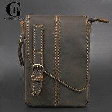 [Goblins Pocket] Man Small Bag Vintage Style Crazy Horse Leather Casual Travel Shoulder Bags,Cowhide Messenger Bag GP/8026