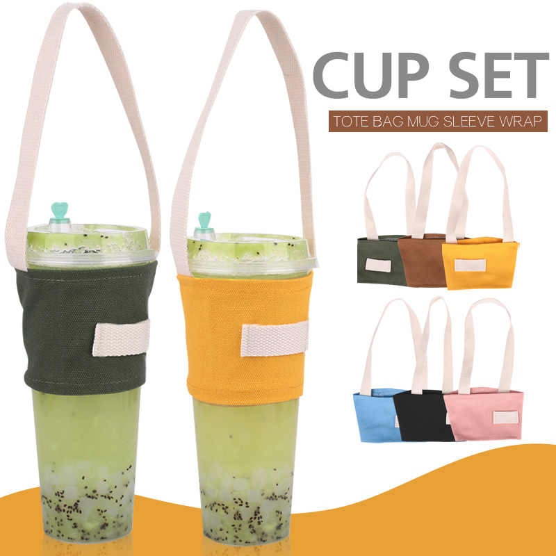 Colorful Cup Bag Kitchen Milk Travel Cup Canvas Tote Bag Tea Beverage Bag Coffee Shake Cup Cartoon Package Water Bottle For bar