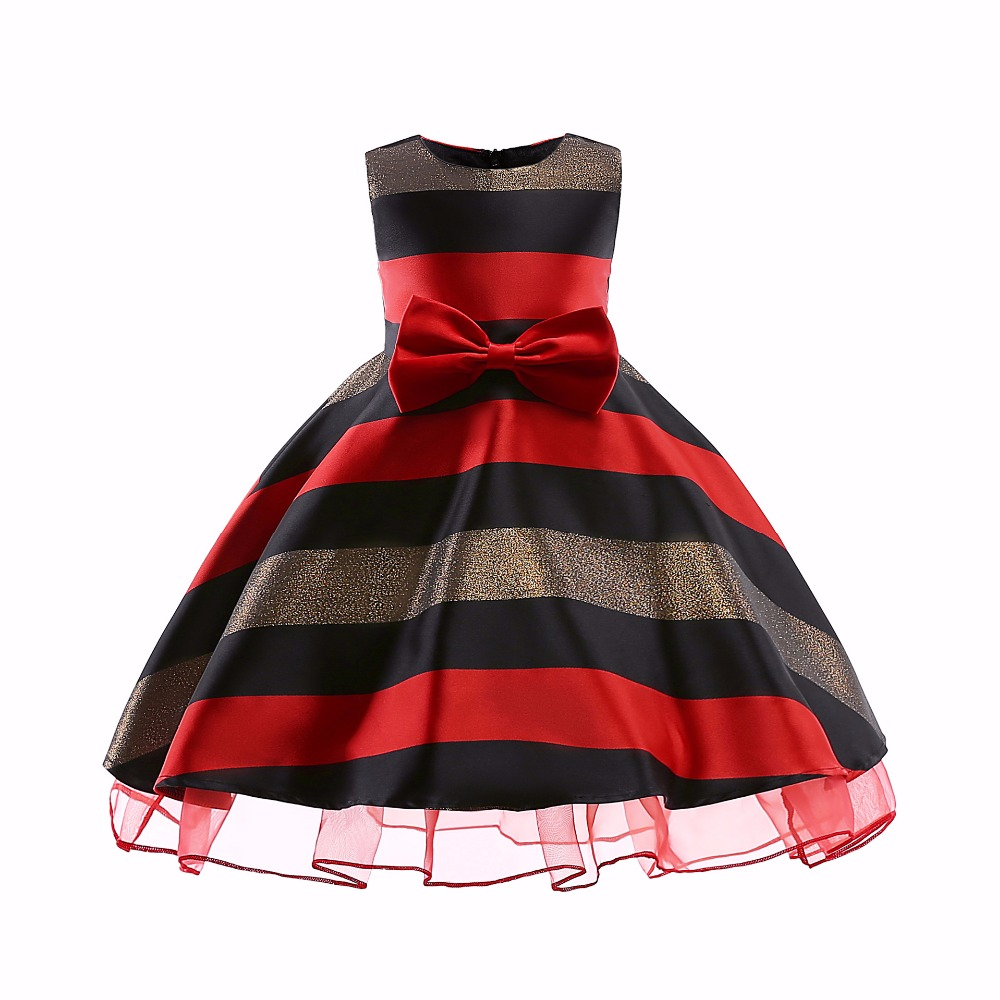 Hot Sale Bow Striped Princess Of Girls Baby Birthday Clothes Ball Gown For Girl Dress Knee-length Style 3-10yearHot Sale Bow Striped Princess Of Girls Baby Birthday Clothes Ball Gown For Girl Dress Knee-length Style 3-10year