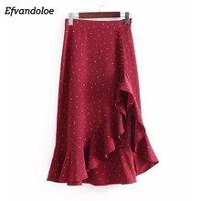 Efvandoloe Red Ruffles Asymmetrical Skirt Summer 2018 Women Star Moon Print  Skirts falda midi 4bfaca7d258a