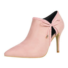 Thin Super High Heels Pointed Toe Women Shoes Bow Party Single Shoe Deep Mouth Flock Ladies