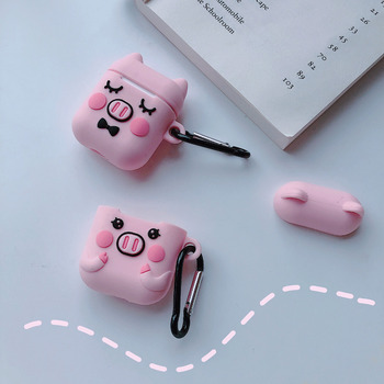 Cartoon Pink Pig Wireless Bluetooth Earphone Case For Apple Airpods Silicone Headphones Cases For Airpods Cover bags