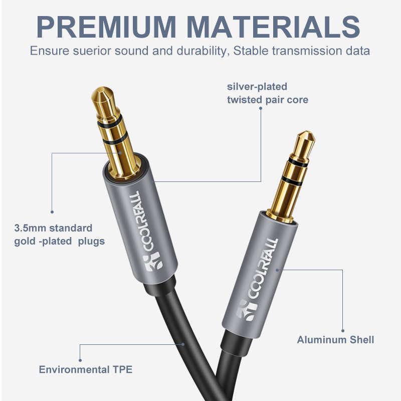 CoolReall 3,5 аудио кабель Jack 3,5 мм акустическая линия Aux кабель для iPhone 6S samsung huawei автомобильные наушники Xiaomi Redmi аудио разъем