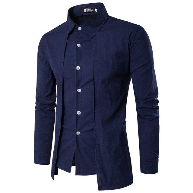 Мужские рубашки 2018 с длинным рукавом Повседневные поддельные две части Chemise  Homme Твердые прибытия платье высокого d470539ed41