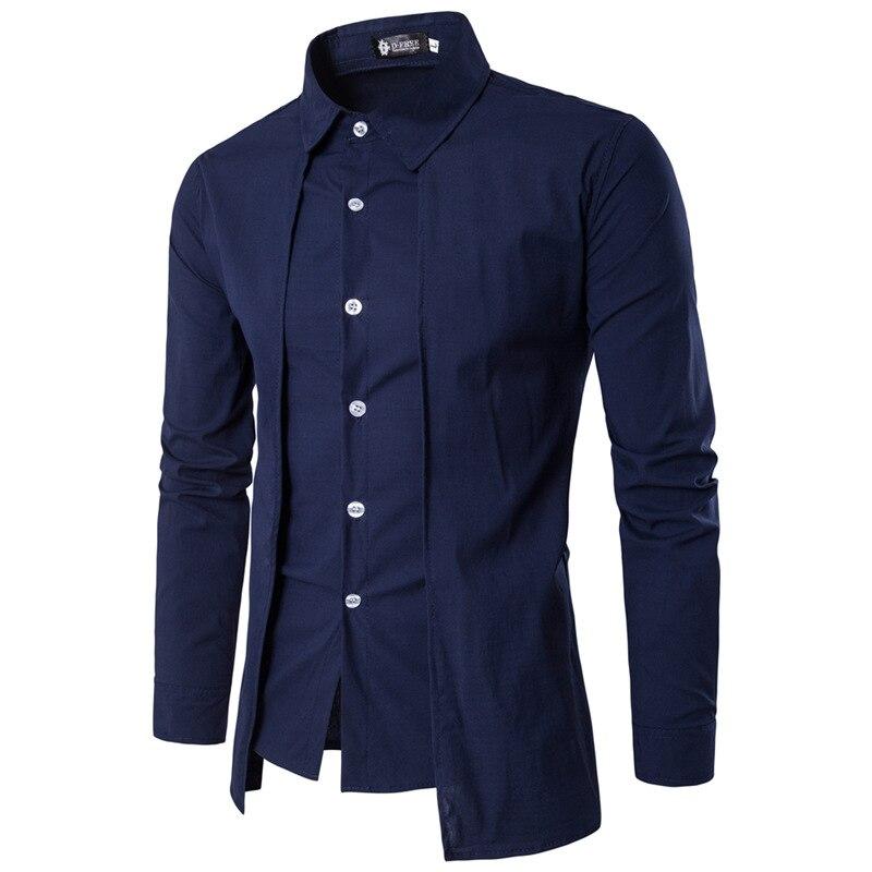 Uomo Camicie 2018 a Maniche Lunghe Vestito Casual Falso in Due Pezzi Chemise Homme Solido di Arrivo di Alta Qualità Degli Uomini Camicie XXL