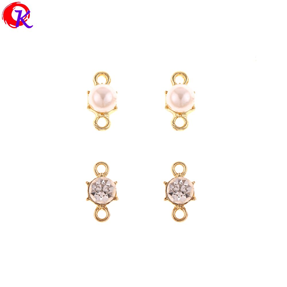 Cordial Design 100Pcs 6*12MM Jewelry Accessories/Earring Connectors/Imitation Pearl & Rhinestone/DIY/Hand Made/Earring Findings