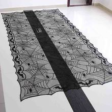 1PCS 48x96 Inch Halloween Rectangle Black Lace Spider Bat Table Cloth  Halloween Decoration Horrifying Spider Web