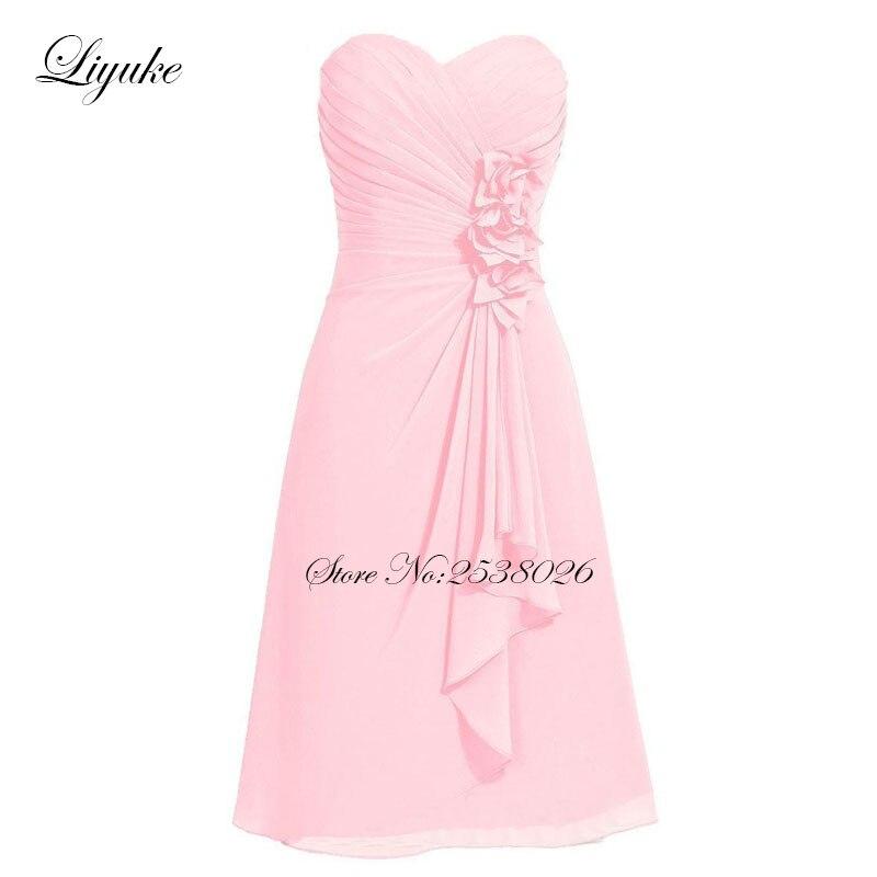 Liyuke Pleat Prom Dress A Line Strapless Party Dress Knee Length ...