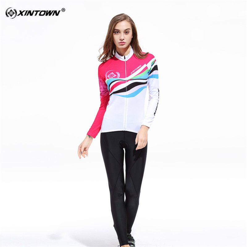 XINTOWN White Sweat Long Sleeve font b Cycling b font font b Jersey b font Set