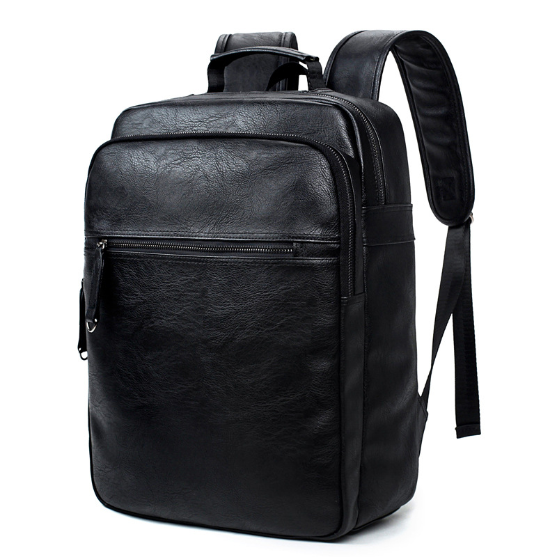 DALFR PU Leather Travel Bag Men 16 Inch Mens Fashion Leather Backpack for  Men Solid Zipper cdbe3df645d4e