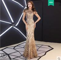 Блестящие золотые блестки длинный тонкий платье на вечерние день рождения Пром праздничное платье певица наряд Бар ночной клуб танцор одеж