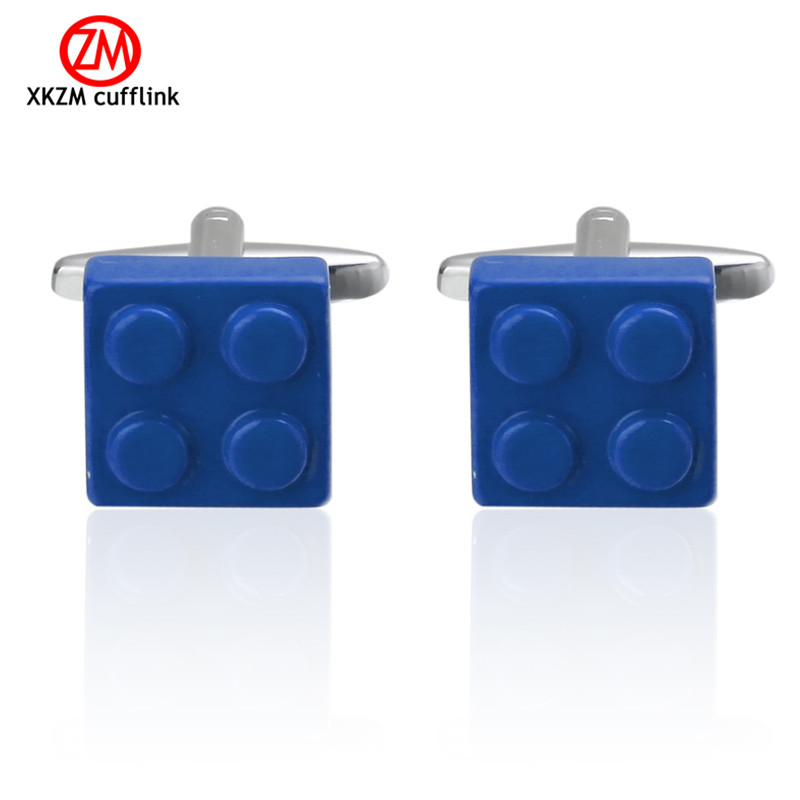 Personalized Cufflinks Blue blocks Cuff Links for Mens Gifts Dad Customized Cuff Buttons Wedding Favors For Fathers Day