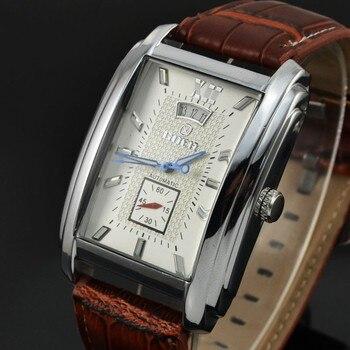 Etiquetas de marca GOER relojes de hombres correa de cuero automático mecánico de los hombres relojes casuales reloj segundero pequeño reloj Masculino