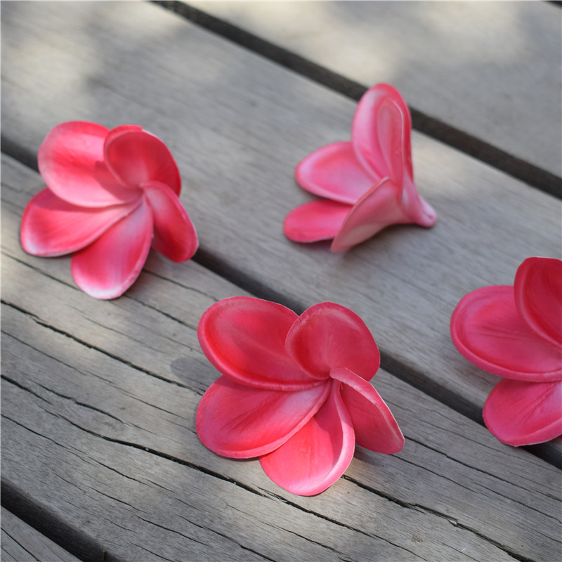 Hot Pink Fuchsia frangipani Plumeria Real Touch Flowers flower heads Cake Toppers Wedding Decorations 100pcs per