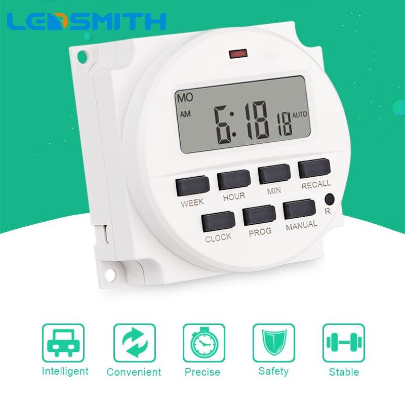 LEDSMITH TM618H-2 220V AC 16A relais de temps numérique 7 jours Programmable minuterie interrupteur de Cycle hebdomadaire minuterie de haute qualité