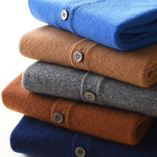 Sweater Men Cardigan Cashmere Pure-Wool Spring Knitted Casual Fashion V-Neck Size-Smlxl2xl3xl