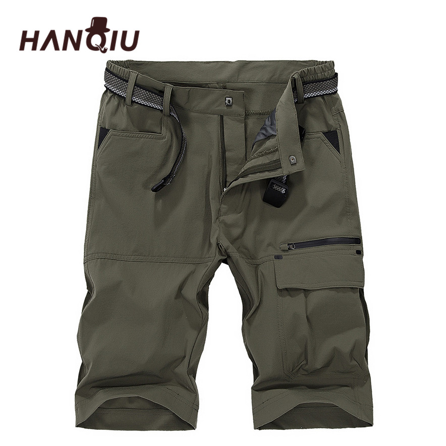 HANQIU Brand Cargo Shorts Mens 2020 Summer Quick-drying Beach Shorts Homme Strechy Mid-Waist Male Plus Size M-5XL Thin Shorts