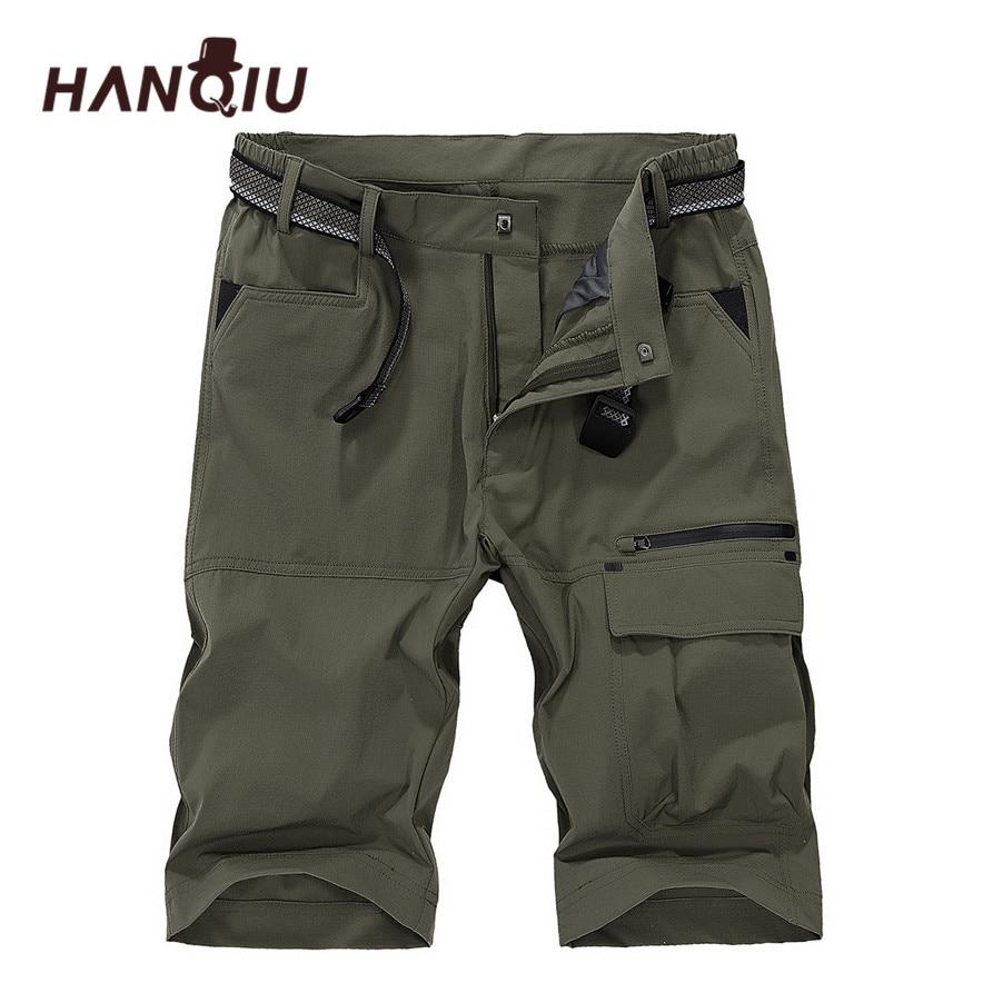 HANQIU Brand Cargo   Shorts   Mens 2019 Summer Quick-drying Beach   Shorts   Homme strechy Mid-Waist Male Plus Size M-5XL Thin   Shorts