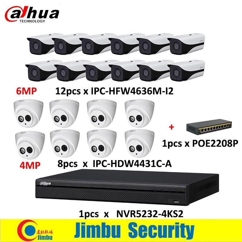 Dahua NVR kit 1pcs NVR5232-4KS2 & 6Mp IP camera 12pcs lens3.6mm IPC-HFW4636M-I2&8pcs lens2.8mm IPC-HDW4431C-A & 1pcs POE2208P