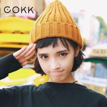 купить COKK Women Hat Beanie Bonnet Stretch Hats For Women Ladies Autumn Winter Beanie Solid Color Head Cap For Girls Chapeau Femme New по цене 224.7 рублей